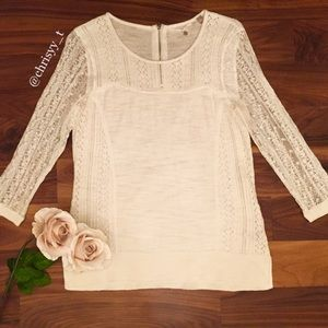 Anthropologie Knitted & Knotted sweater with lace
